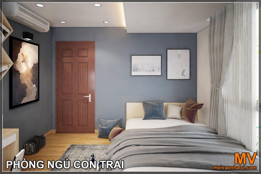 Thiết kế phòng ngủ con trai chung cư hòa phát