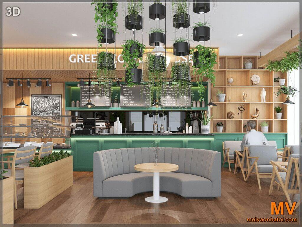 thiết kế quán cafe hà nội góc chính diện
