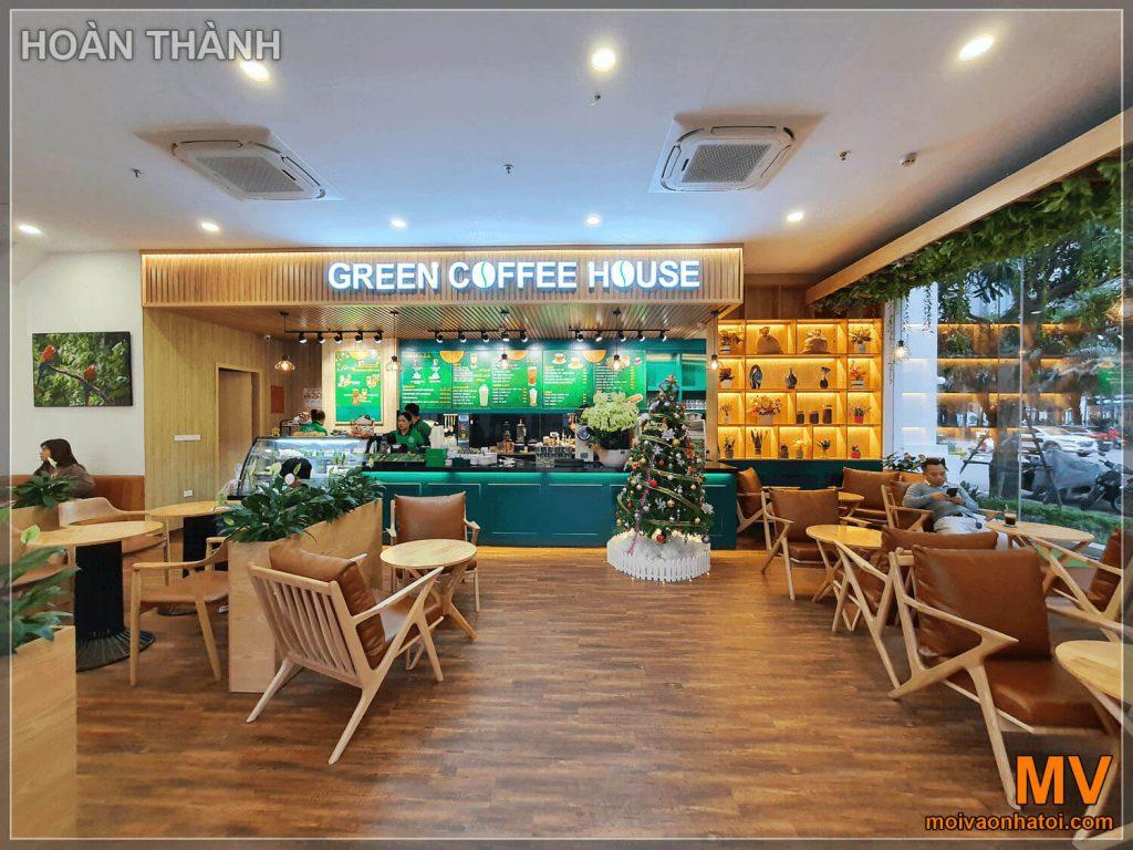 hoàn thành góc chính diện quán green coffee house