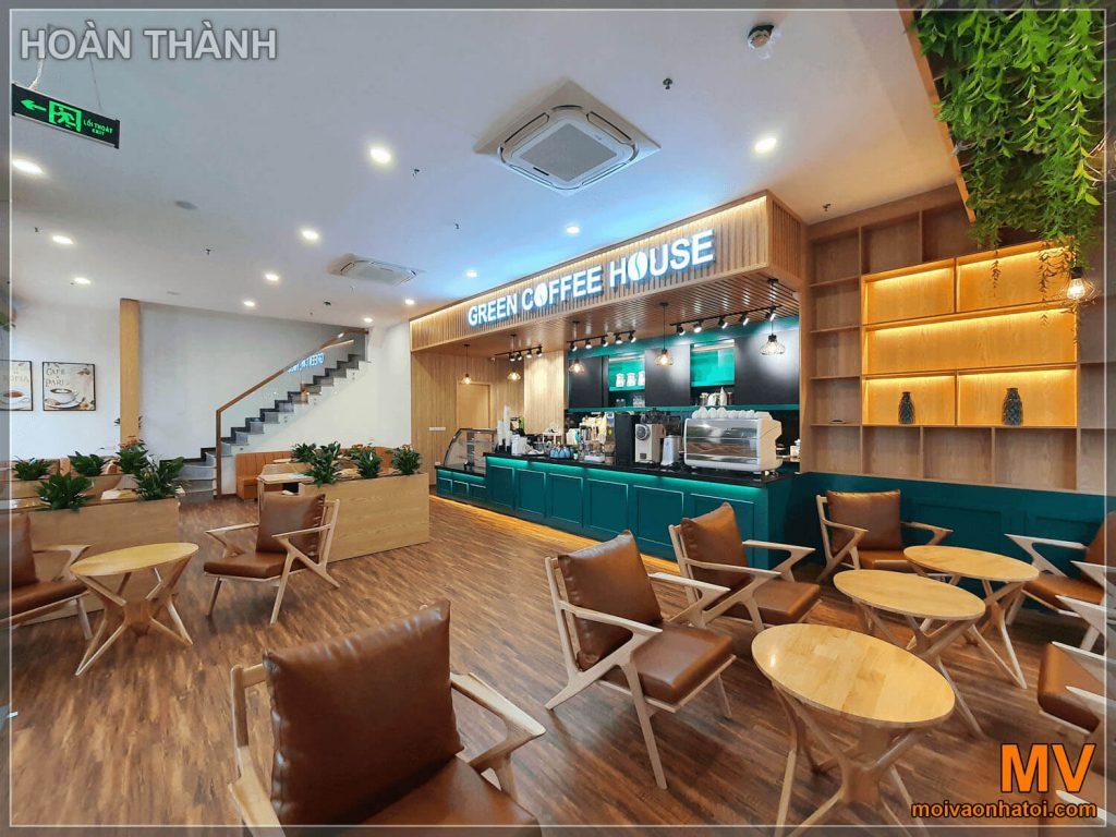 hoàn thiện tầng 1 quán cafe cây xanh