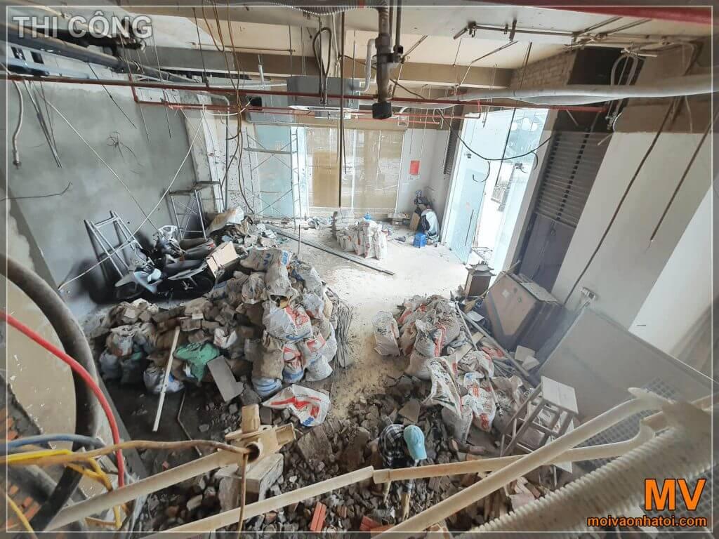 Фото строительства сверху с видом на 1-й этаж ресторана таймс сити