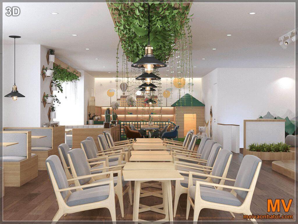 ảnh 3D nhìn về cầu thanh của quán cafe cây xanh