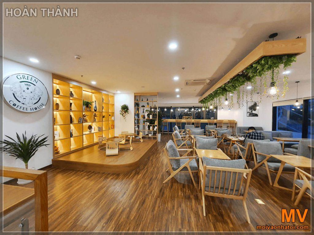 hoàn thiện không gian tầng 2 quán cafe hà nội