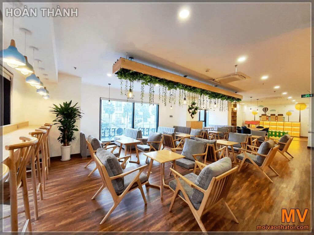 hoàn thiện view đẹp nhất không gian tầng 2 quán cafe