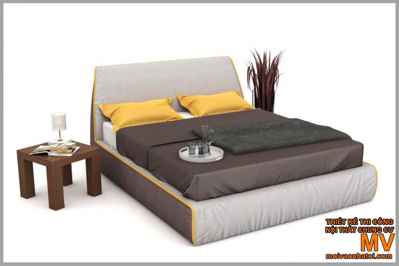 Giường ngủ bọc nỉ đẹp tối màu