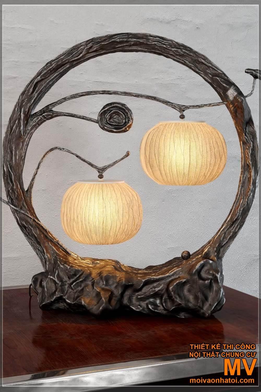 đèn trang trí tự làm bằng gỗ điêu khắc