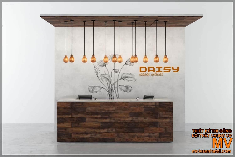 Thiết kế quầy bar - quầy lễ tân bằng gỗ
