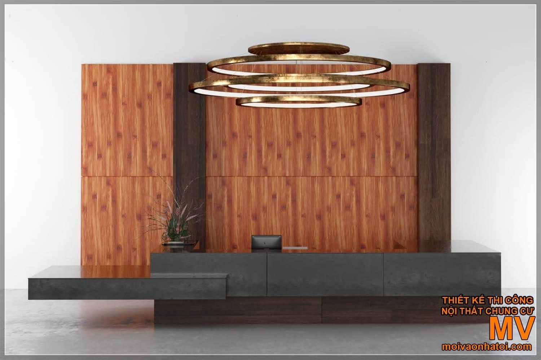 Thiết kế quầy bar - quầy lễ tân bằng gỗ phối đá