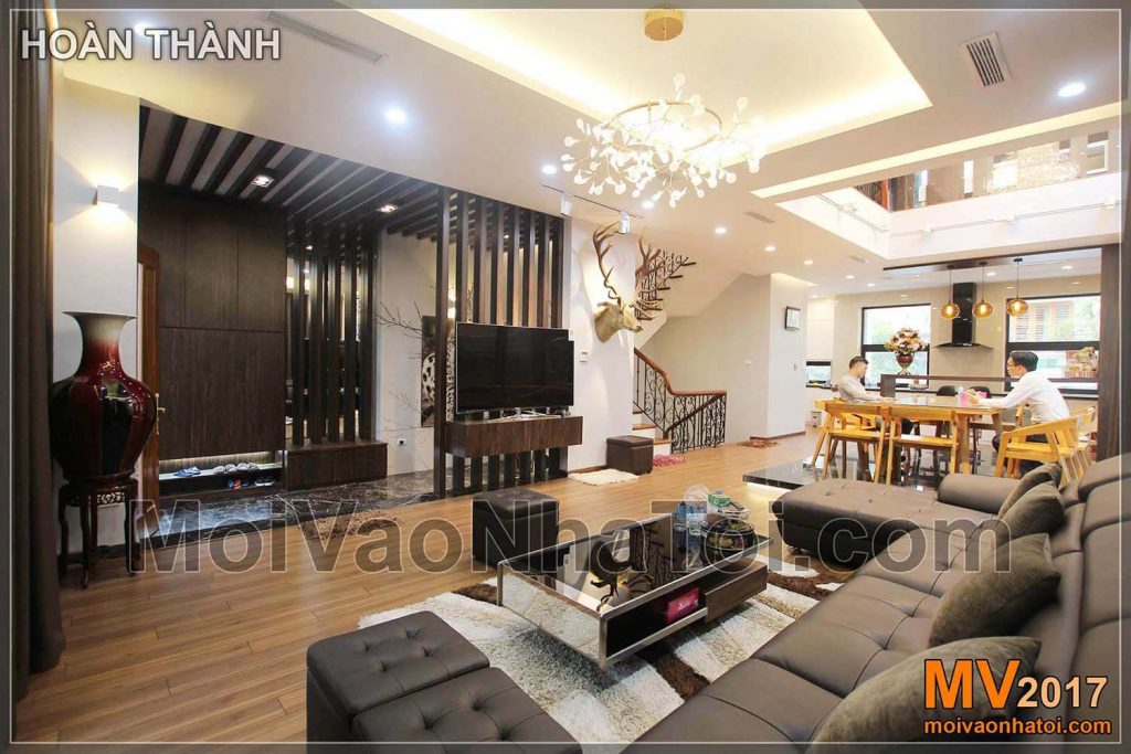 panoramic living room dining table modern villa