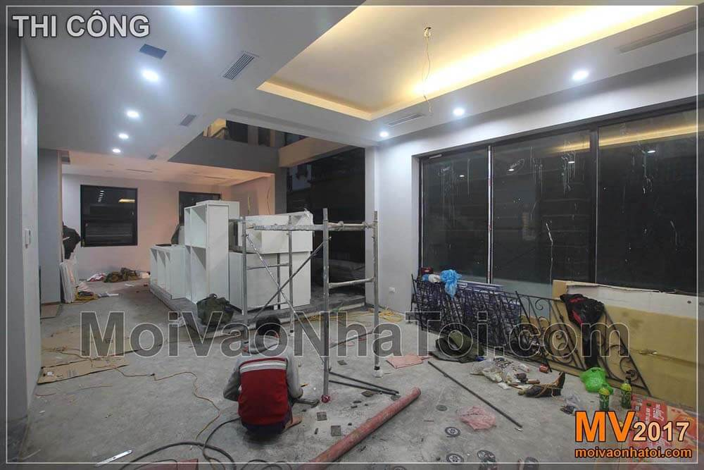Executing and installing interior of villa living room