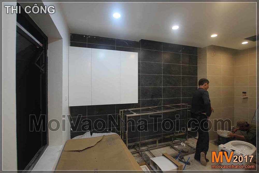 Construction process of WC modern villa
