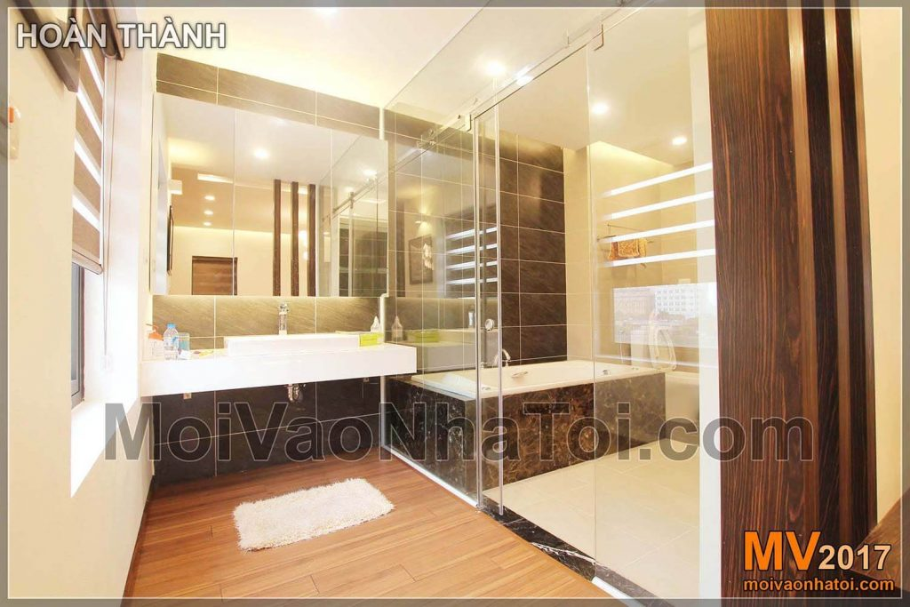 Modern villas bathroom with glass walls