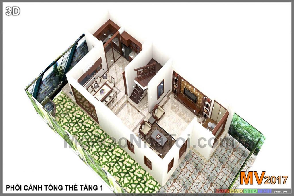 Interior perspective on the first floor of Viet Hung Villa