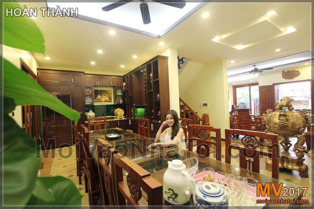 The dining room overlooks the living room of Viet Hung Villa