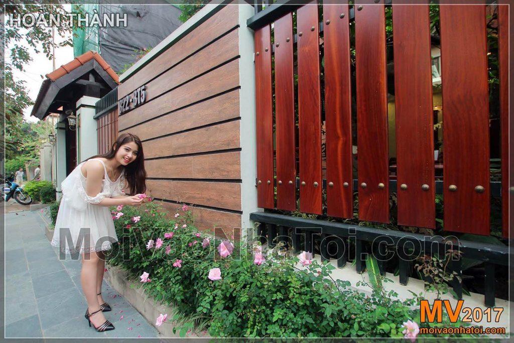 bồn hoa ngoài cổng biệt thự việt hưng