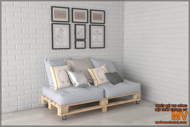 mẫu ghế gỗ pallet sofa có bánh xe