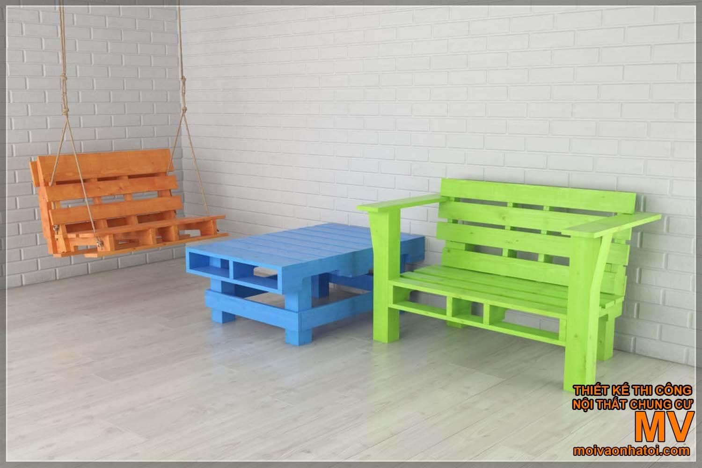 Mẫu bàn ghế pallet màu sắc sặc sỡ