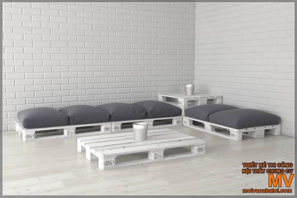 Столы и стулья паллетные белые диванные подушки