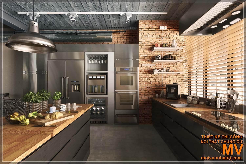 nội thất nhà bếp, bếp công nghiệp