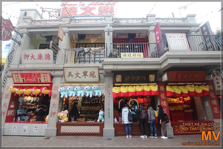 Mặt tiền cửa hàng tại một dãy phố cổ HongKong