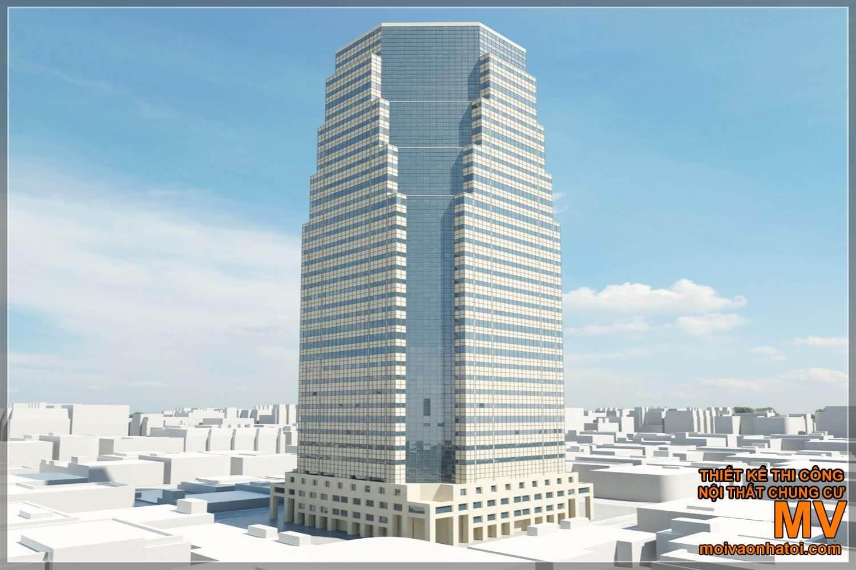Các mẫu thiết kế nhà cao tầng hình khối