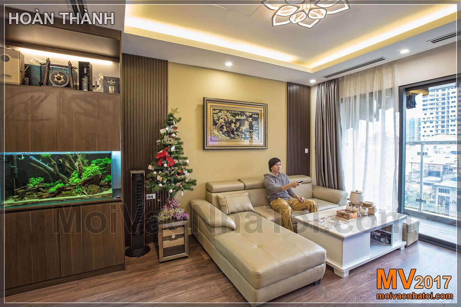 The living room of IMPERIA GARDEN HANOI apartment after completion