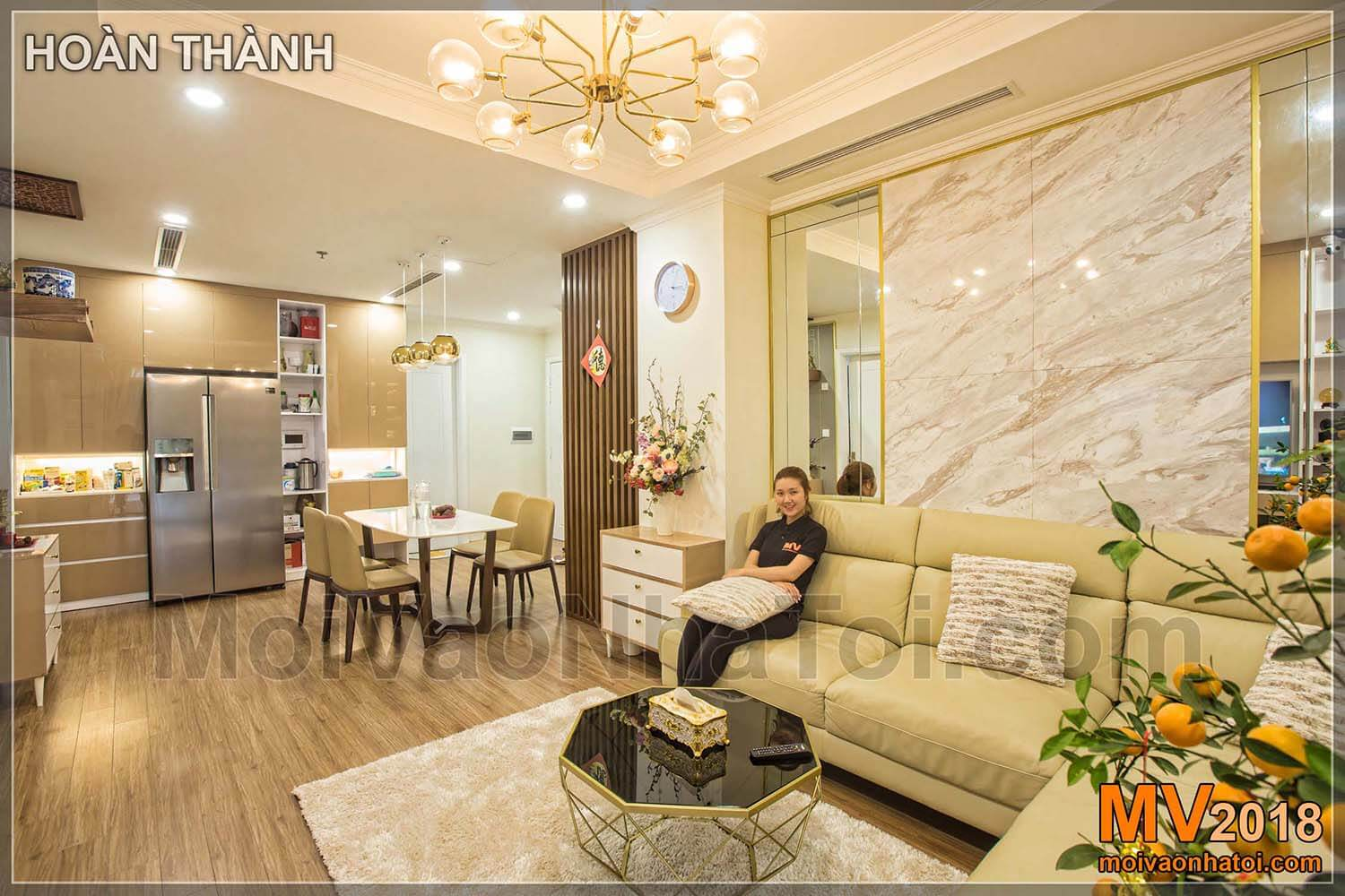 wall mirror with starcity apartment stone array