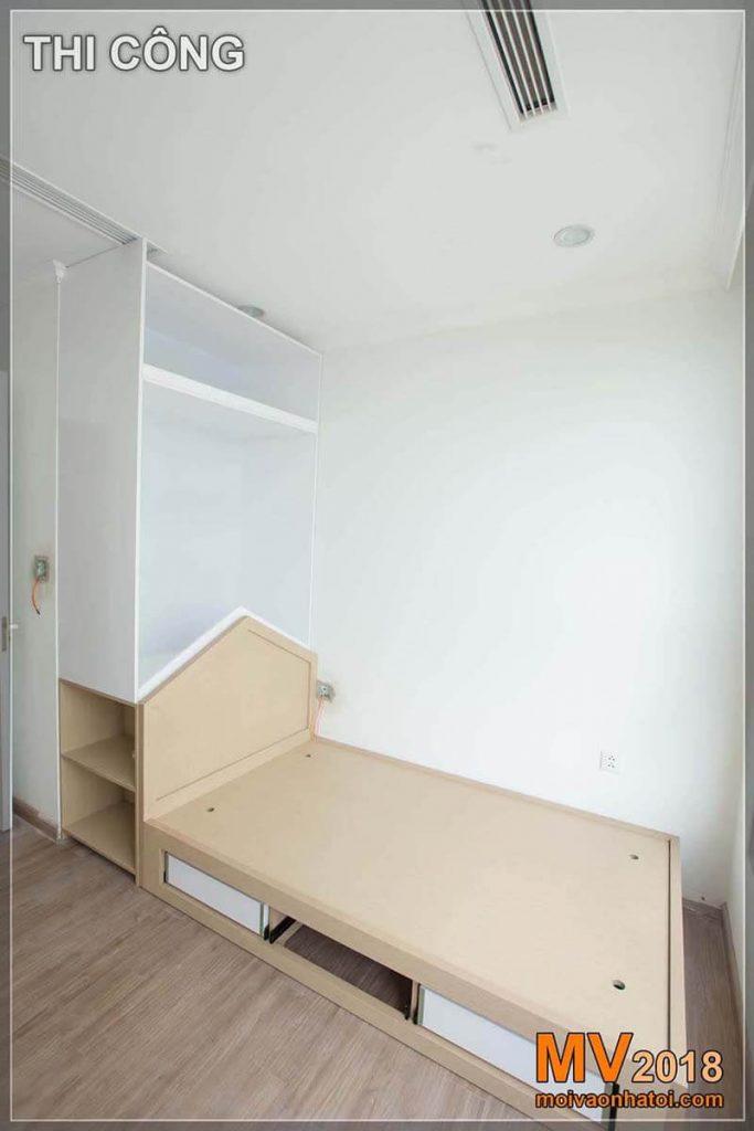 Tempat tidur instan dengan lemari pakaian