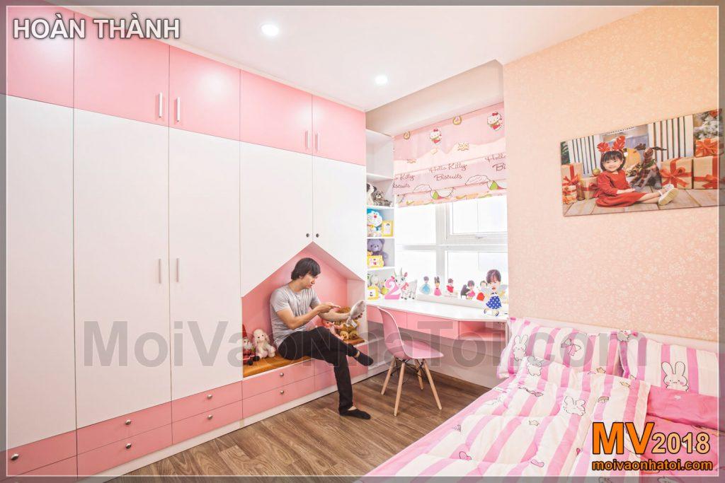 phòng ngủ bé gái màu hồng nhiều màu sắc tốt cho phát triển CHUNG CƯ RIVERSIDE GARDEN