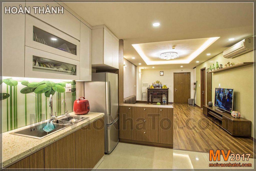 tủ ngăn bếp và phòng khách kết hợp tủ rượu chung cư t&t riverview
