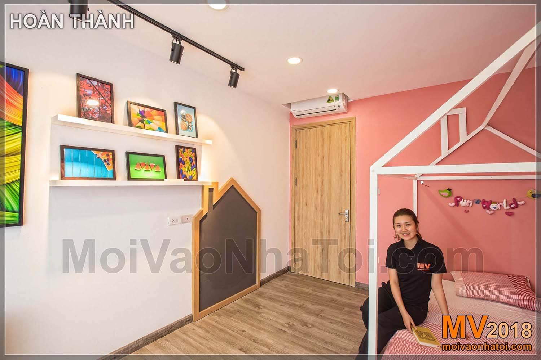 giường ngủ màu hồng cho bé gái Chung cư khu đô thị Đặng Xá