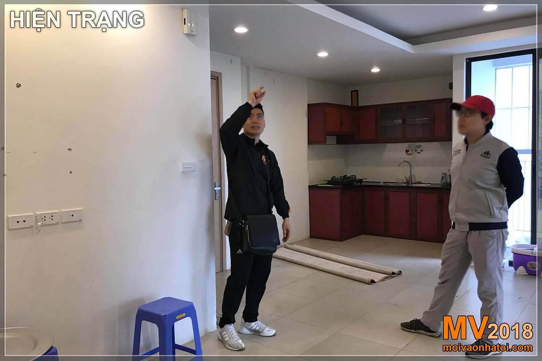 Dang Xa Apartmentを改装する前のキッチンスペース