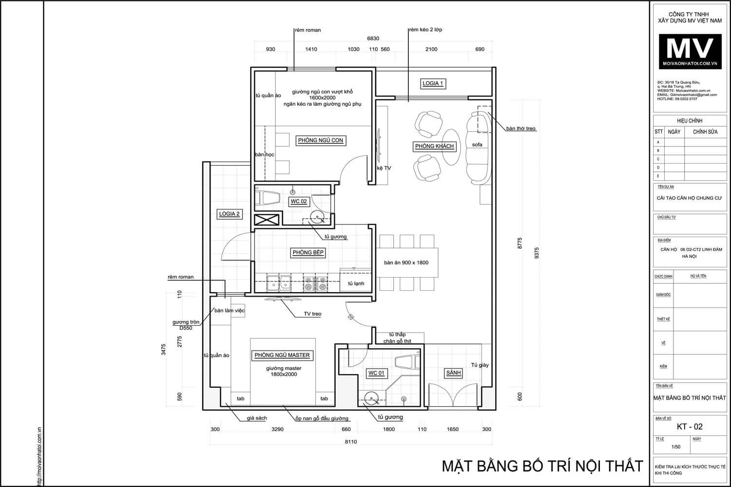 Layout of design apartment Linh Dam 80m2