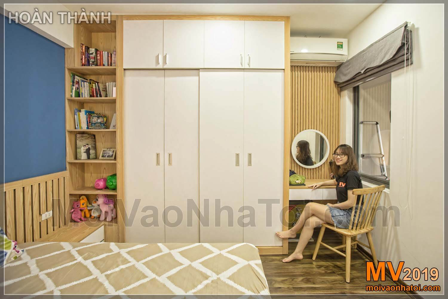 Wardrobe and dressing table to design Linh Dam apartment building of 80m2
