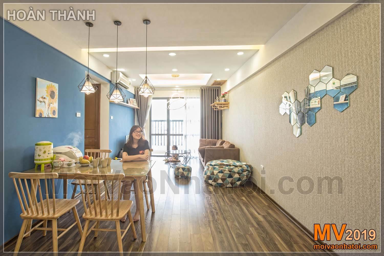Projetando apartamento sala de jantar Linh Dam 80m2