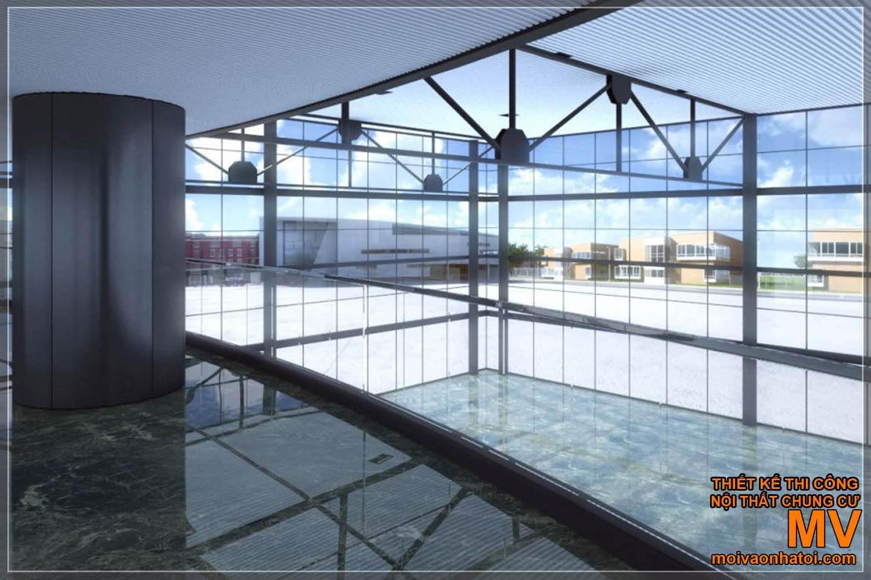 kết cấu trần nhà rộng