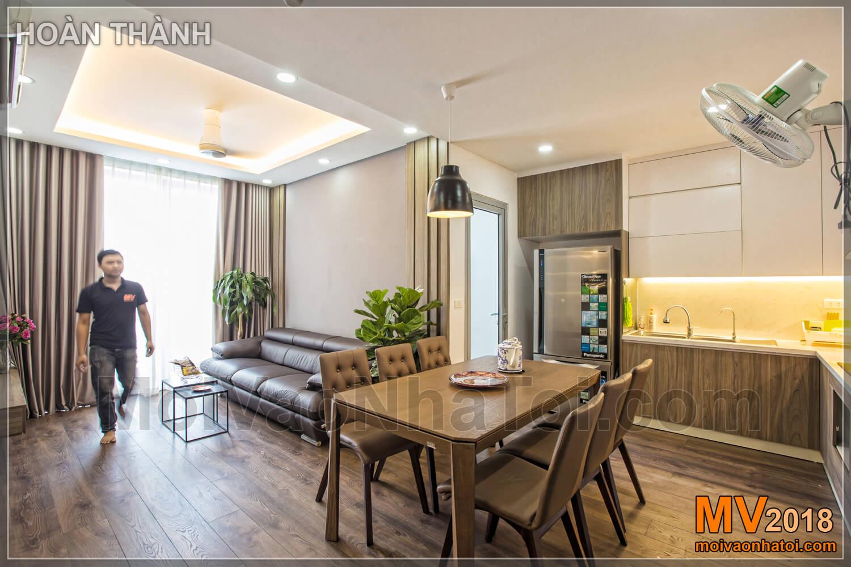 Góc nhìn bao quát bếp và phòng khách chung cư Vinhomes Gardenia