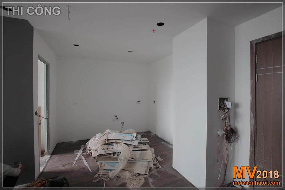 kitchen in the process of construction of Vinhomes Gardenia apartment