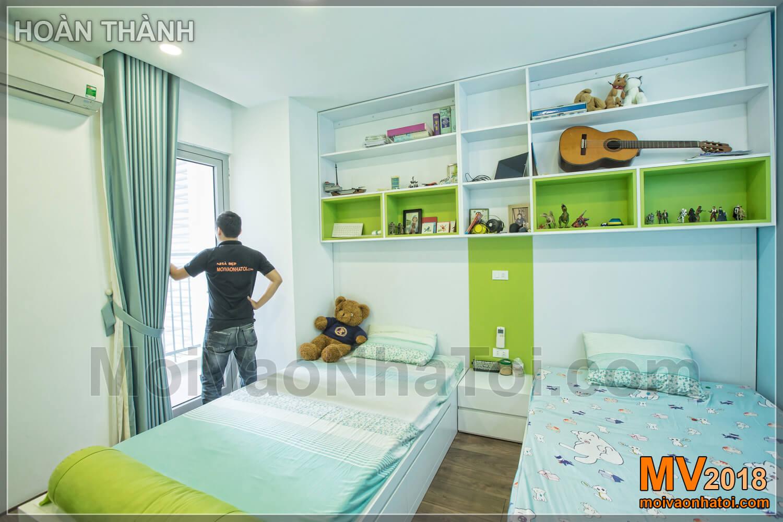 phòng ngủ con sáng màu tạo cảm giác rộng rãi chung cư Vinhomes Gardenia