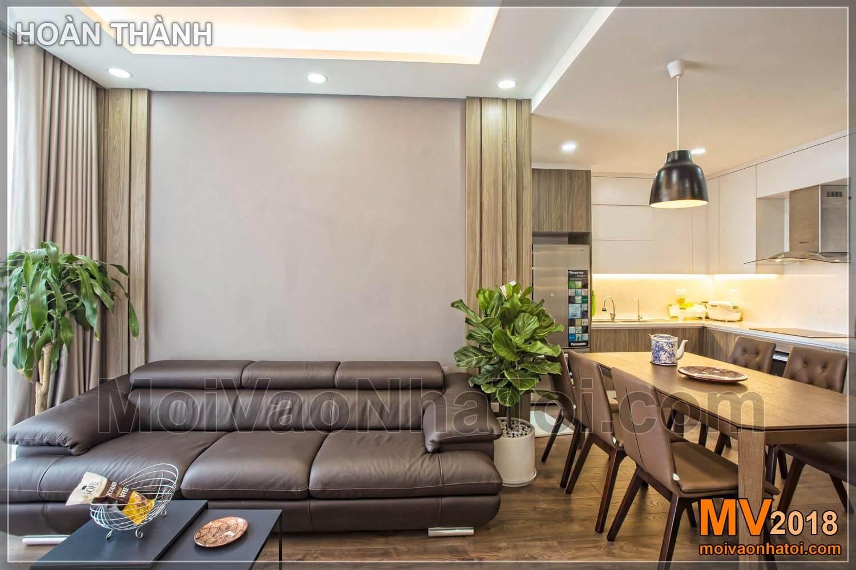 phòng khách và bàn ăn kết hợp chung cư Vinhomes Gardenia
