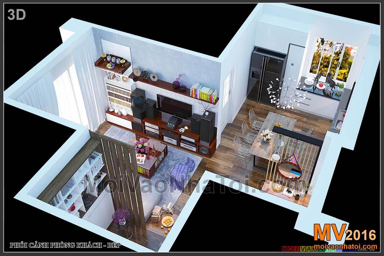 prospettiva della cucina e del soggiorno nella cucina dell'appartamento Viet Hung