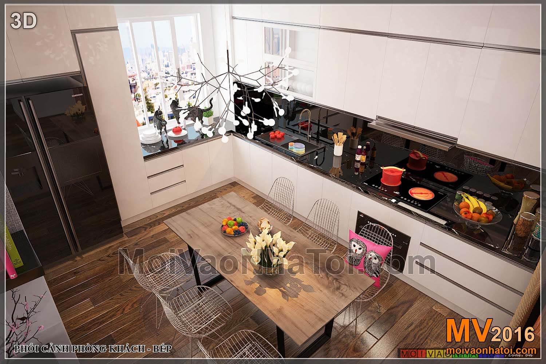 prospettiva della cucina dell'appartamento Viet Hung