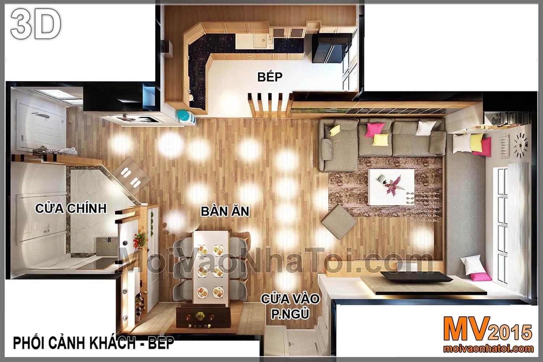 3D perspektiva bytové kuchyně Nguyen Duc Canh
