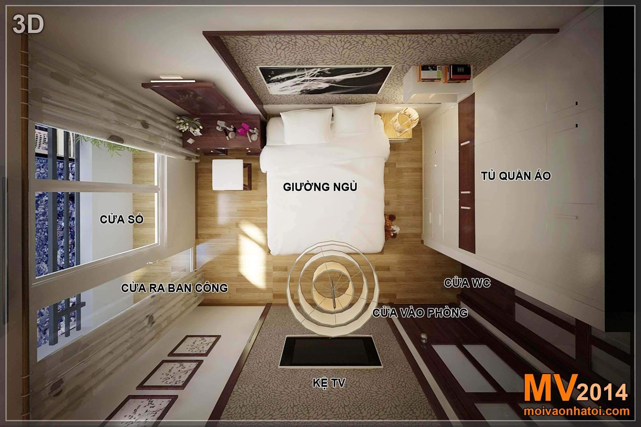 mặt bằng 3d phòng master chung cư việt hưng