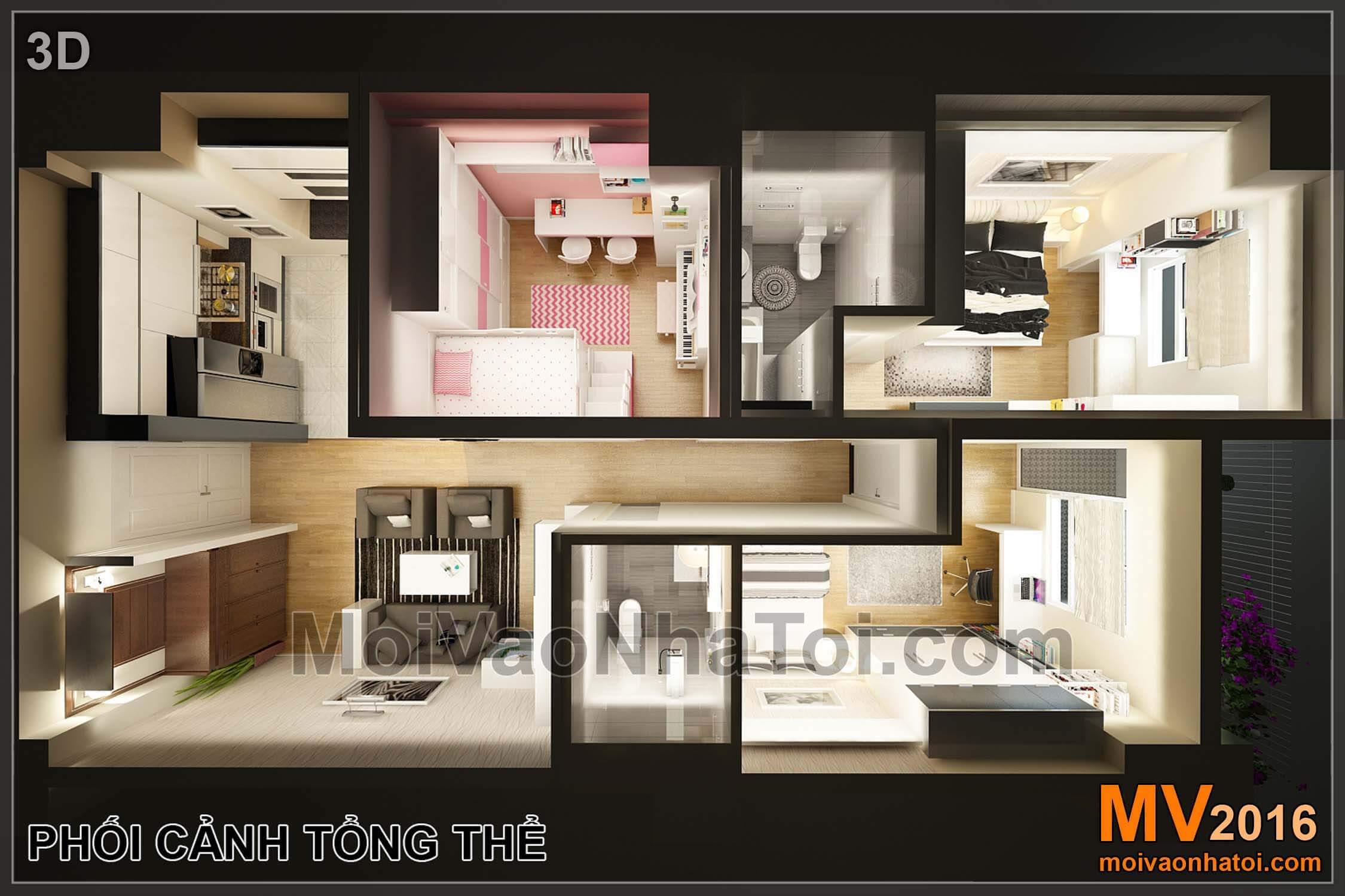 Phối cảnh tổng thể chung cư Vinaconex 7.thiết kế chung cư 105m2