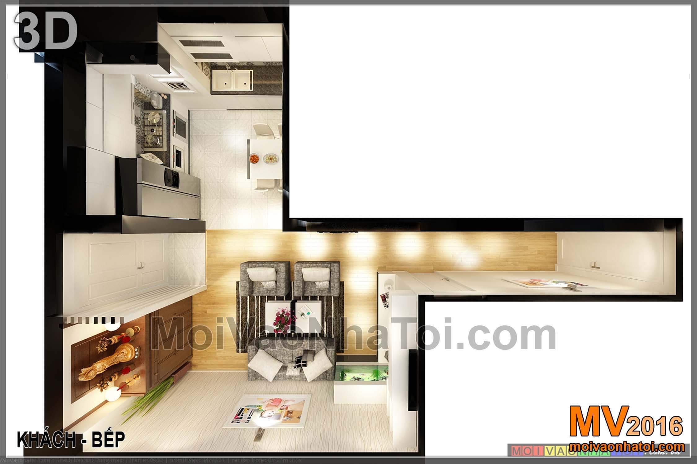 phối cảnh phòng khách và bếp chung cư Vinaconex 7. thiết kế chung cư 105m2