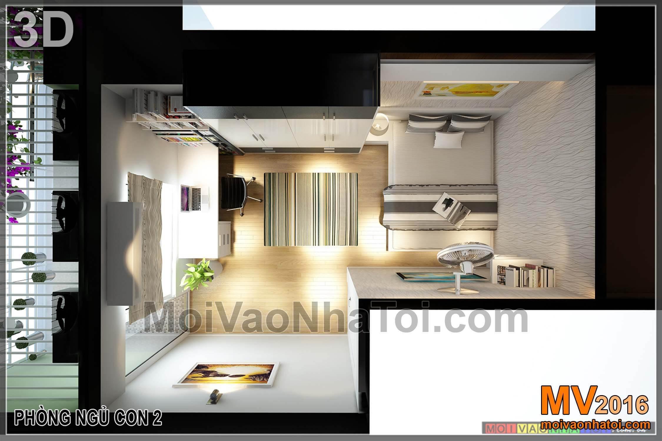 Phối cảnh 3D phòng ngủ con Phòng ngủ cho con chung cư chung cư Vinaconex 7.thiết kế chung cư 105m2