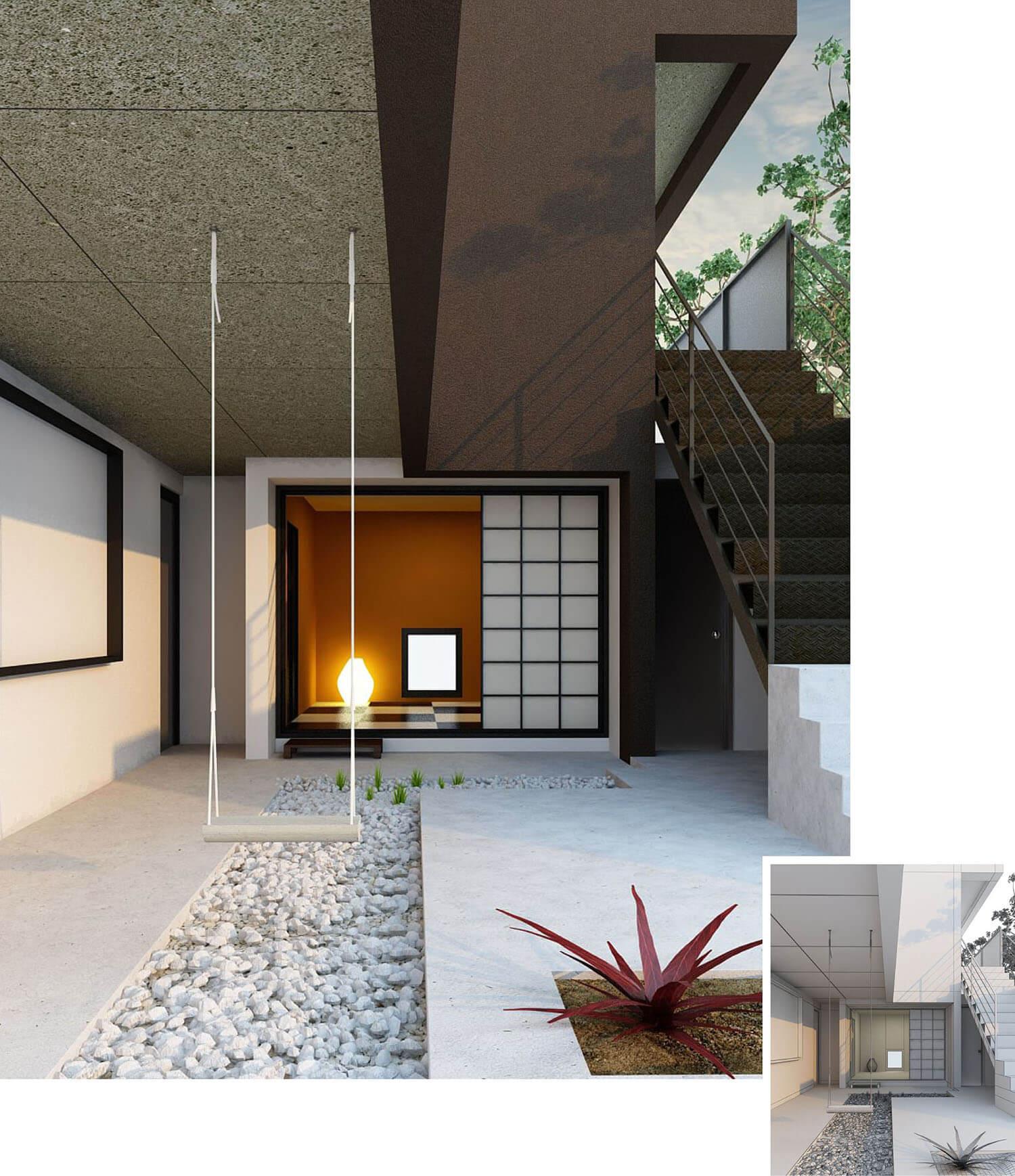 thiết kế trang trí hành lang lối đi