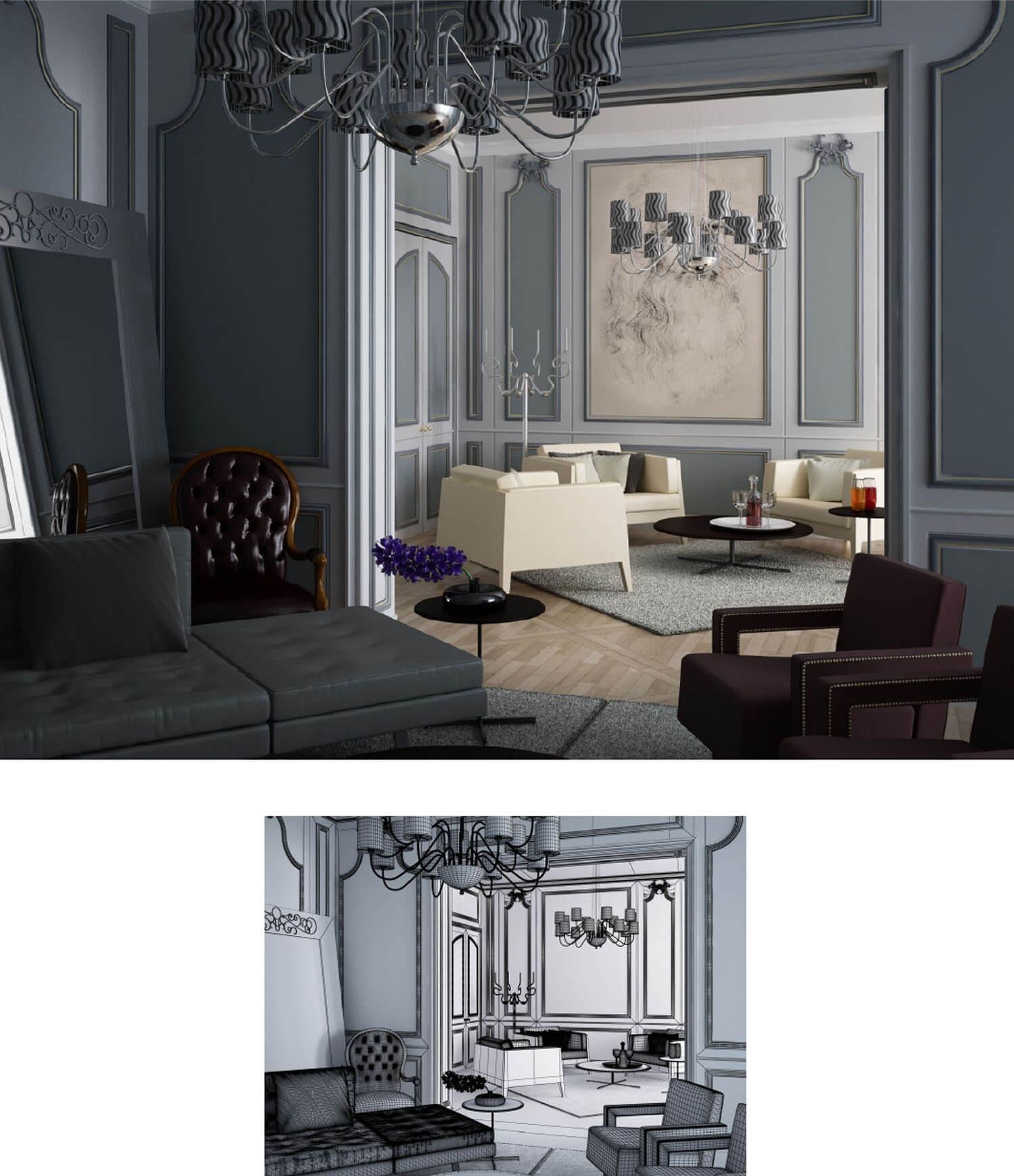 thiết kế phòng khách, nội thất phong cách cổ điển