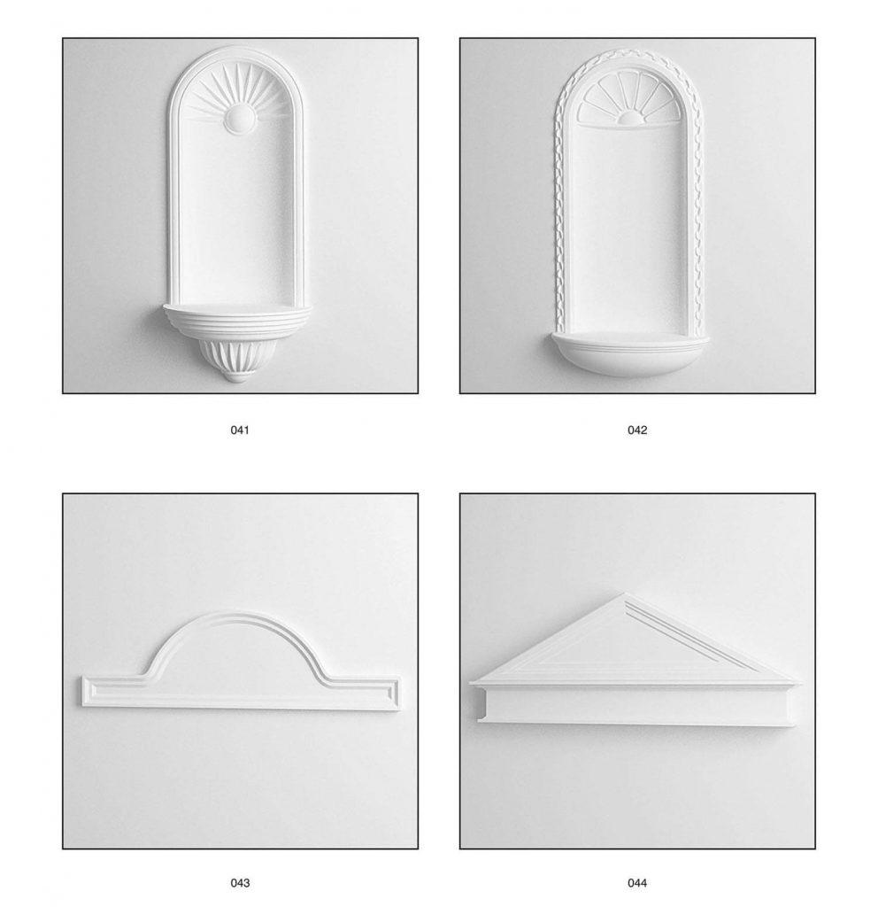 relief plester air mancur, atap